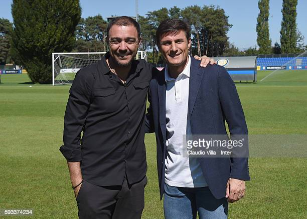 Vice President Javier Zanetti and Alvaro Recoba pose for a photo during the FC Internazionale training session at the club's training ground at...