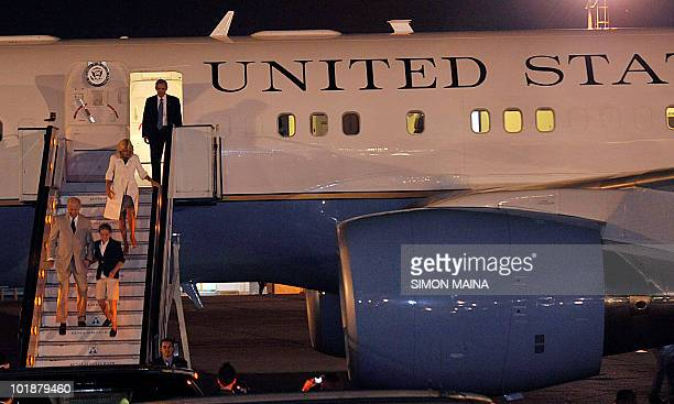 Vice President Joe Biden accompanied by his wife Jill Biden and his granddaughter Maisy arrive at Jommo Kenyatta International Airport on June 7 2010...