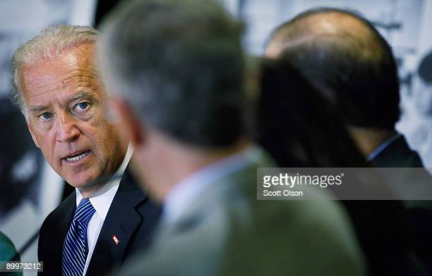 S Vice President Joe Biden addresses health care professionals during a roundtable discussion on health insurance reform at Mt Sinai Hospital August...