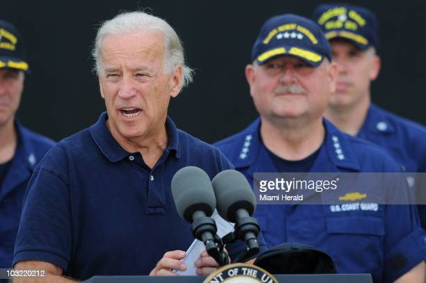 Vice President Joe Biden addresses members of the media at a U.S. Naval Air Station in Pensacola, Florida, on Tuesday, June 29, 2010.