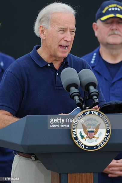 Vice President Joe Biden addresses members of the media at a US Naval Air Station in Pensacola Florida on Tuesday June 29 2010
