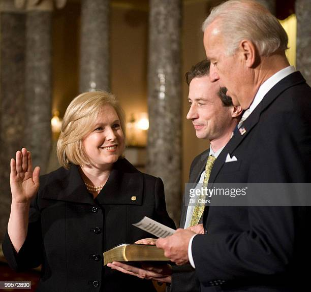 Vice President Joe Biden administers the oath during the mock swearingin ceremony for Sen Kirsten Gillibrand DNY on Tuesday Jan 27 to fill the senate...