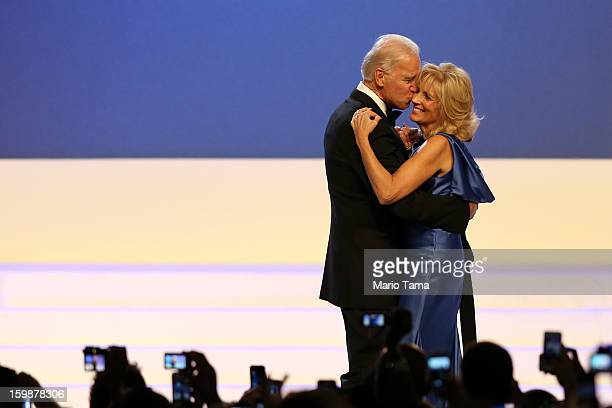 S Vice President Joe Biden and Dr Jill Biden dance during the Public Inaugural Ball at the Walter E Washington Convention Center on January 21 2013...