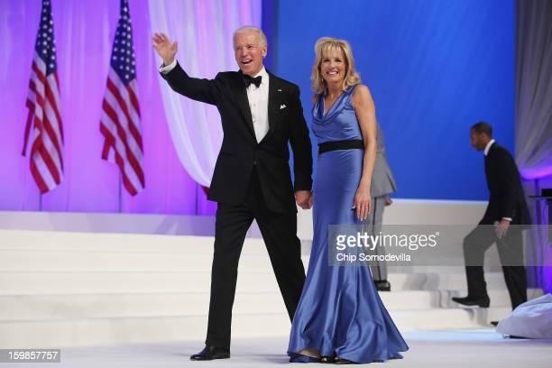 Vice President Joe Biden and Dr. Jill Biden wave goodbye after dancing during the Comander-in-Chief's Inaugural Ball at the Walter Washington...