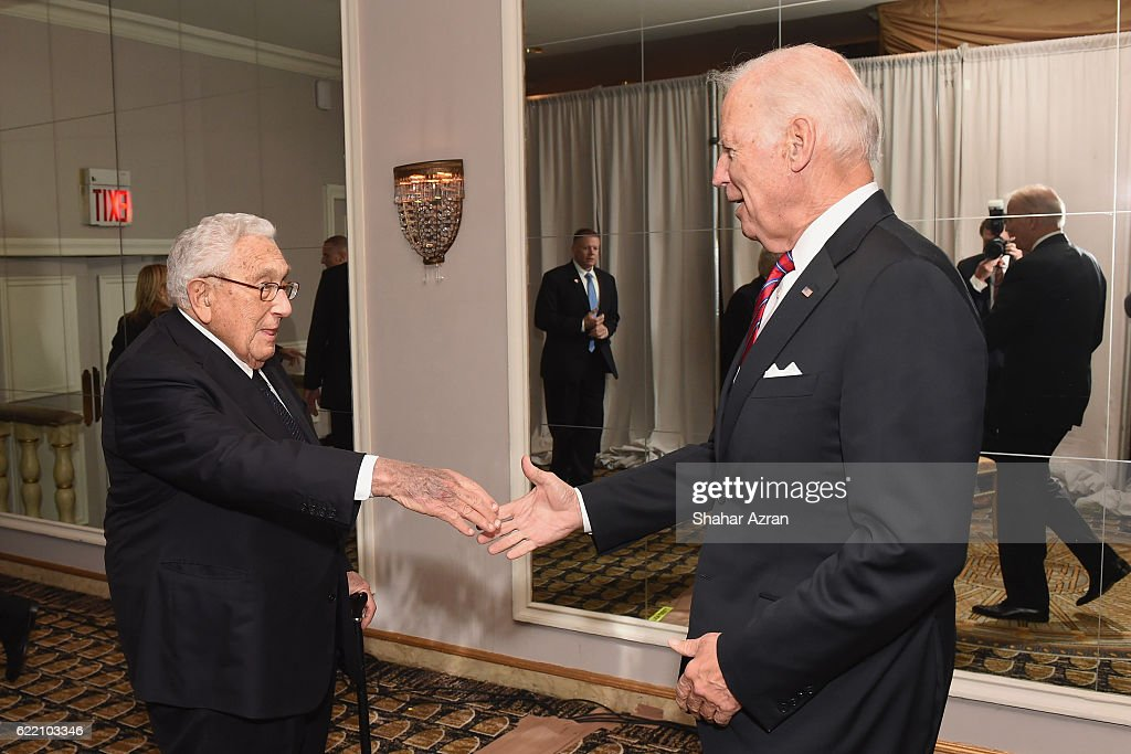 US Vice President Joe Biden and Former US Secretary of State Henry Kissinger Ronald S. Lauder at the 2016 World Jewish Congress Herzl Award Dinner at The Pierre Hotel on November 9, 2016 in New York City.
