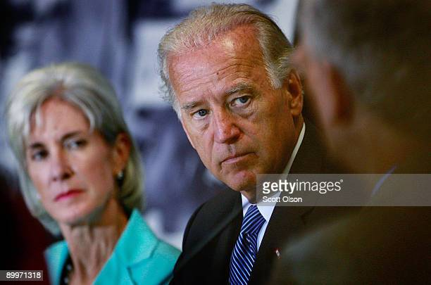 S Vice President Joe Biden and Health and Human Services Secretary Kathleen Sebelius listens to health care professionals during a roundtable...