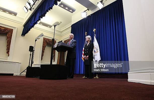 Vice President Joe Biden and Health and Human Services Secretary Kathleen Sebelius participate in a news conference on American Recovery and...