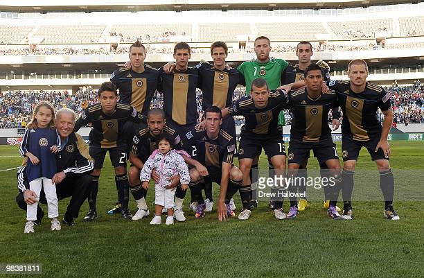 Vice President Joe Biden and his granddaughter Natalie Biden pose for a team photo with the Philadelphia Union before the game against DCUnited on...