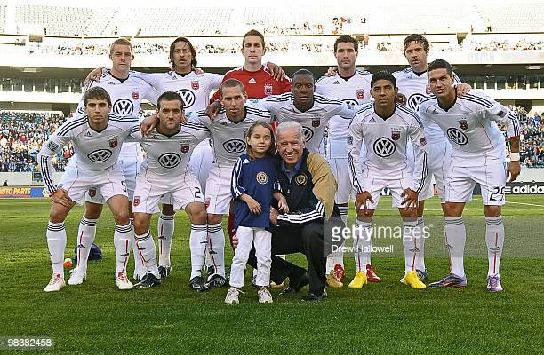 Vice President Joe Biden and his granddaughter Natalie Biden pose for a team photo with DC United before the game against the Philadelphia Union on...