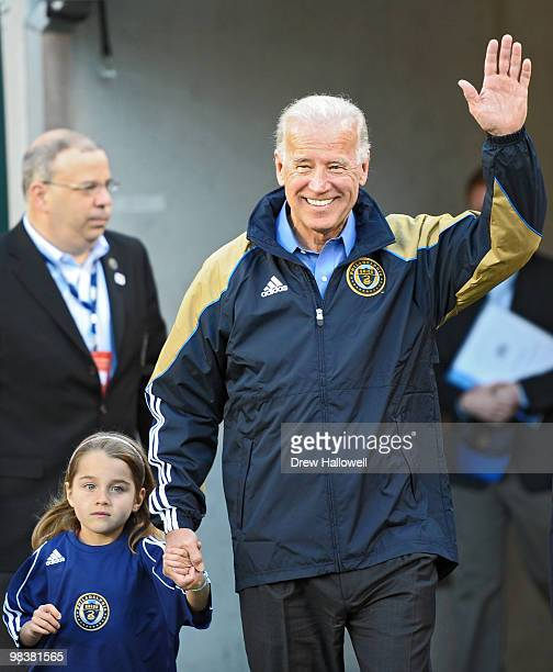 Vice President Joe Biden and his granddaughter Natalie Biden walk onto the field before the game between the Philadelphia Union and DC United on...