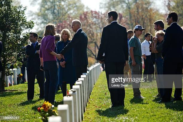 S Vice President Joe Biden and his wife Dr Jill Biden greet family members of fallen service men and woment on Veteran's Day at Arlington National...