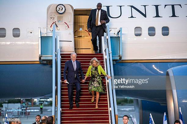 S Vice President Joe Biden and his wife Dr Jill Biden walk out of the plane at BenGurion airport on March 8 2016 in Tel Aviv Israel US Vice President...