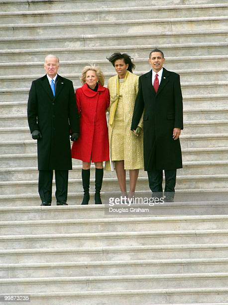 Vice President Joe Biden and his wife Jill, First lady Michelle Obama and President Barack Obama after the 56th inauguration on the East Front of the...