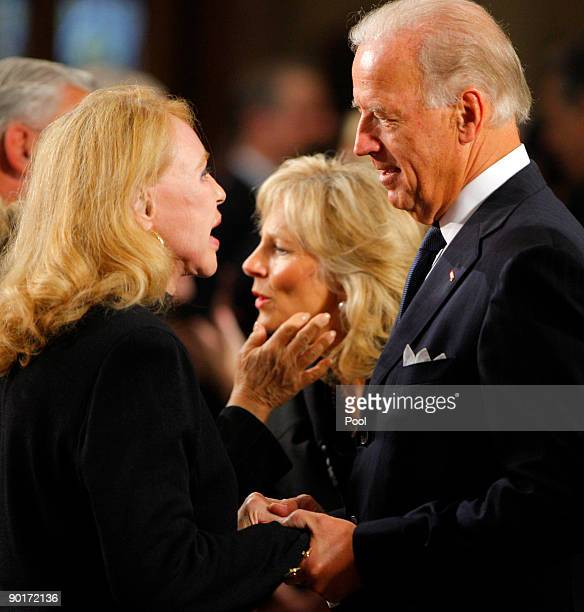 S Vice President Joe Biden and his wife Jill talk with US Senator Edward Kennedy's exwife Joan Kennedy during funeral services for Sen Kennedy at the...