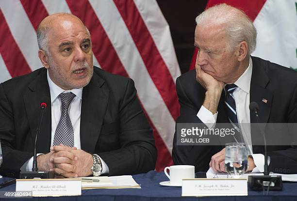 US Vice President Joe Biden and Iraqi Prime Minister Haider AlAbadi hold a meeting of the US Iraq Higher Coordinating Committee in the Eisenhower...