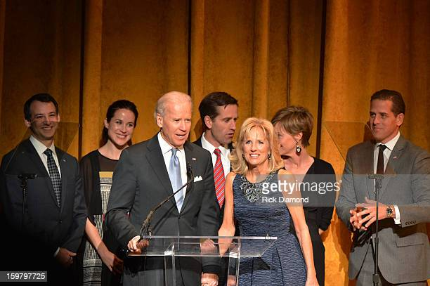 S Vice President Joe Biden and Jill Biden speak at Latino Inaugural 2013 In Performance at Kennedy Center at The Kennedy Center on January 20 2013 in...