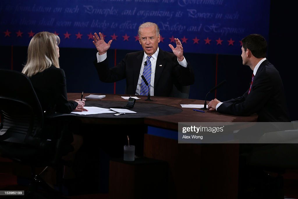 U.S. Vice President Joe Biden (C) and Republican vice presidential candidate U.S. Rep. Paul Ryan (R-WI) (R) participate in the vice presidential debate as moderator Martha Raddatz looks on at Centre College October 11, 2012 in Danville, Kentucky. This is the second of four debates during the presidential election season and the only debate between the vice presidential candidates before the closely-contested election November 6.