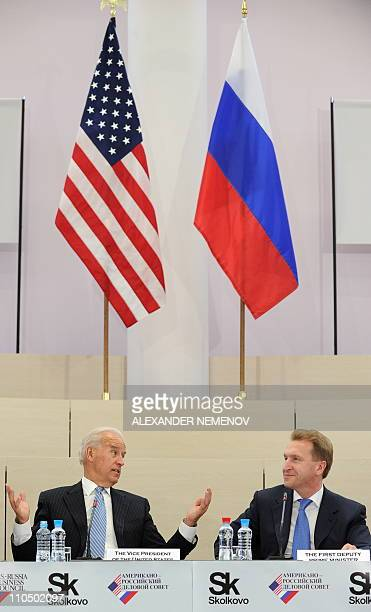 US Vice President Joe Biden and Russian First Deputy Prime Minister Igor Shuvalov attend a meeting with Russian and US businessmen in Skolkovo...