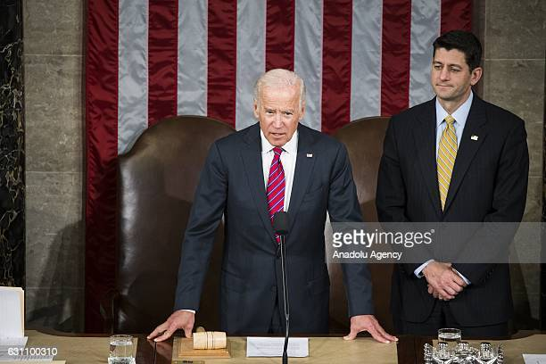 Vice President Joe Biden and Speaker of the House Paul Ryan bring a joint session of Congress into order to receive the Electoral College votes from...