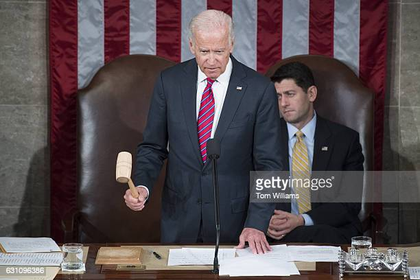 Vice President Joe Biden and Speaker Paul Ryan RWis conduct a count of the Electoral College votes during a joint session of Congress in the House...