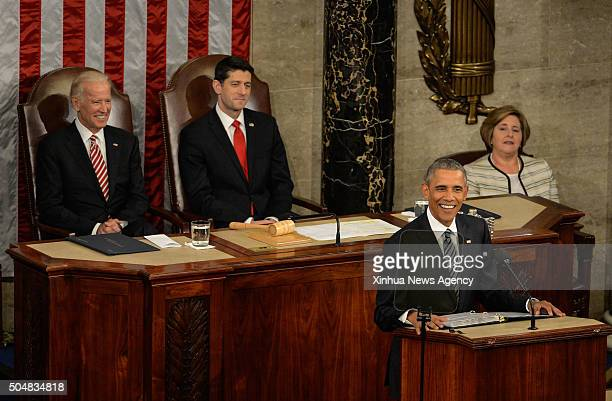 Vice President Joe Biden and US Speaker of the House Rep Paul Ryan listen as US President Barack Obama speaks at the State of the Union before...