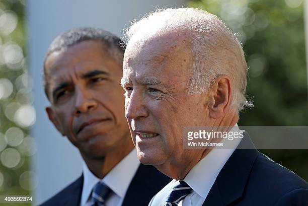 S Vice President Joe Biden announces that he will not seek the presidency during a statement with US President Barack Obama in the Rose Garden of the...