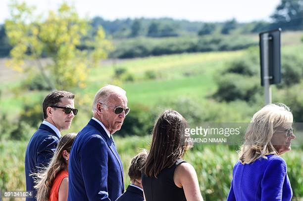 US Vice President Joe Biden arrives along with his wife Jill Biden and relatives in the village of Sojevo on August 17 2016 to take part in a...