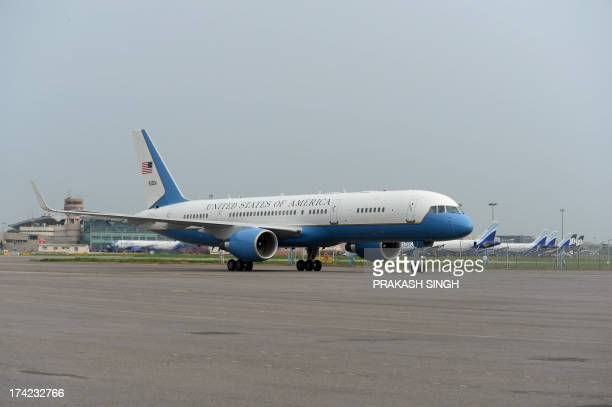 US Vice President Joe Biden arrives at Air Force Station in New Delhi on July 22 2013 US Vice President Joe Biden arrived in India at the start of a...