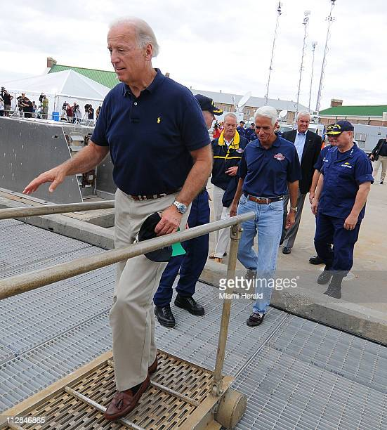 Vice President Joe Biden boards a Coast Guard cutter at a US Naval Air Station in Pensacola Florida on Tuesday June 29 2010