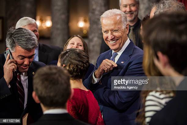 Vice President Joe Biden calls Betty Pagel from Yuma Co Senator Cory Gardner's grandmother after reenacting his swearing in to the 114th US Congress...