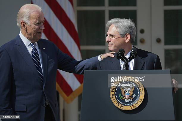 Vice President Joe Biden congratulates Judge Merrick Garland after he was nominated by U.S. President Barack Obama to the Supreme Court in the Rose...