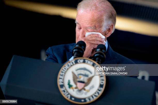 Vice President Joe Biden cries while speaking about the death of his son and the support he received from Amtrak employees at Amtrak's Joseph R....