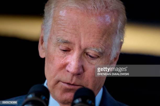 US Vice President Joe Biden cries while speaking about the death of his son and the support he received from Amtrak employees at Amtrak's Joseph R...