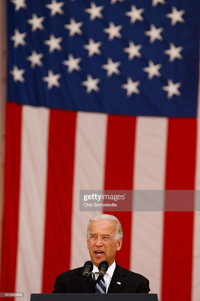U.S. Vice President Joe Biden delivers remarks after laying a wreath at the Tomb of the Unknowns during Memorial Day ceremonies at Arlington National Cemetery May 31, 2010 in Arlington, Virginia. This is the 142nd Memorial Day observance at the cemetery.