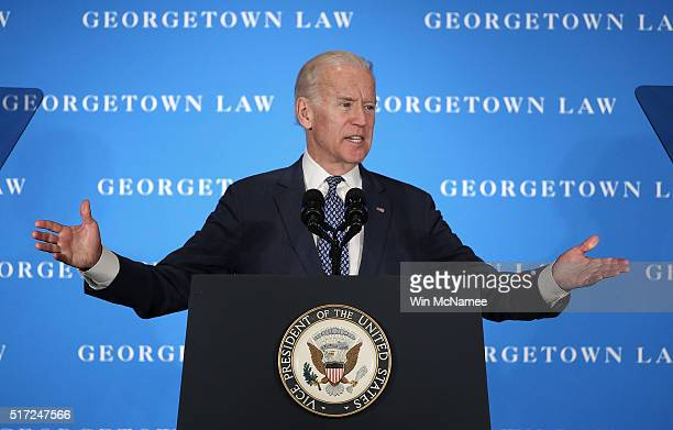 S Vice President Joe Biden delivers remarks at Georgetown University Law Center on March 24 2016 in Washington DC Biden called on the US Senate to...
