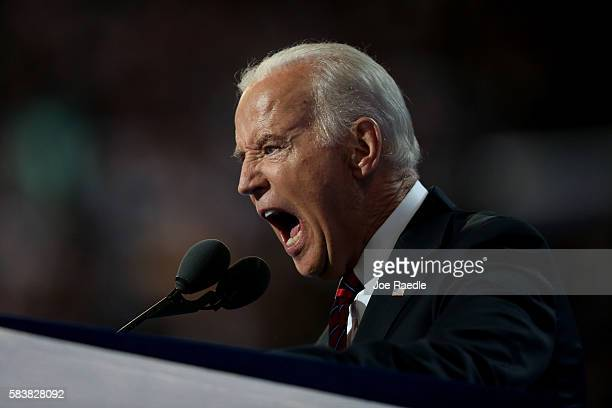 Vice President Joe Biden delivers remarks on the third day of the Democratic National Convention at the Wells Fargo Center, July 27, 2016 in...