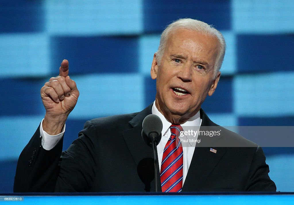 U.S. Vice President Joe Biden delivers remarks on the third day of the Democratic National Convention at the Wells Fargo Center on July 27, 2016 in Philadelphia, Pennsylvania. An estimated 50,000 people are expected in Philadelphia, including hundreds of protesters and members of the media. The four-day Democratic National Convention kicked off July 25.