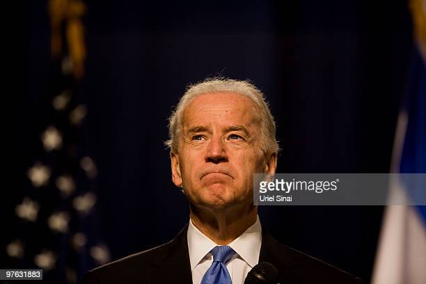 US Vice President Joe Biden gestures during a speech on March 11 2010 at the Tel Aviv university in Israel American VicePresident Joe Biden is in the...