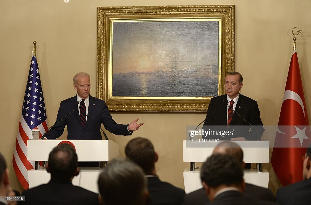 US Vice President Joe Biden (L) gives a joint press conference with Turkish President Recep Tayyip Erdogan at Beylerbeyi Palace on November 22, 2014 in Istanbul. Biden met Erdogan with the aim to ease strains over the crisis in Syria and persuade Turkey to step up its support for the coalition against Islamic State (IS) jihadists.