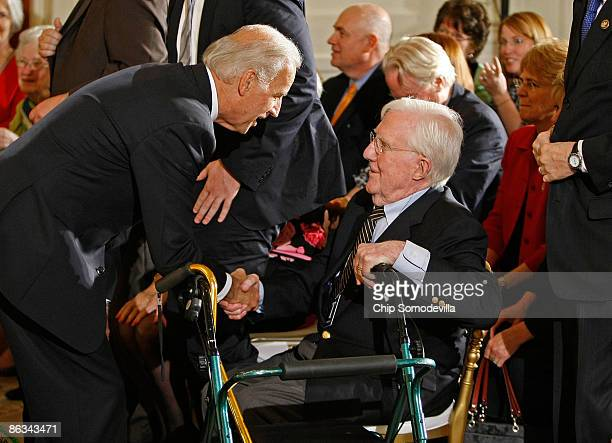 S Vice President Joe Biden greets former Ohio Gov John Gilligan father of former Democratic Kansas governor and now Health and Human Services...