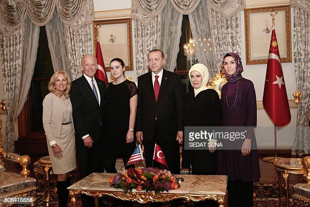 US Vice President Joe Biden his wife Jill Biden his granddaughter Naomi Biden 3rd L pose with Turkish President Recep Tayyip Erdogan his wife Emine...