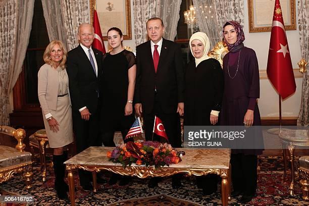 US Vice President Joe Biden his wife Jill Biden his granddaughter Naomi Biden 3rd L pose with Turkish President Recep Tayyip Erdogan his wife Emine...