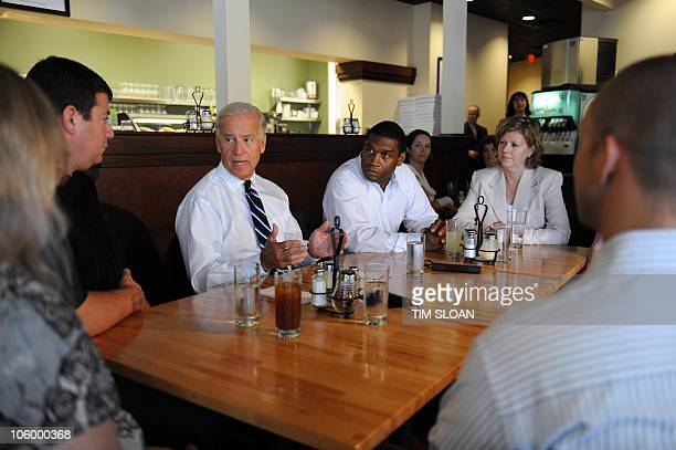 US Vice President Joe Biden holds a middle class task force roundtable discussion with local workers and small business owners on August 25 2010 at...