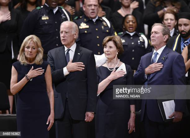 US Vice President Joe Biden Jill Biden and former US president George W Bush and former first lady Laura Bush attend an interfaith memorial service...