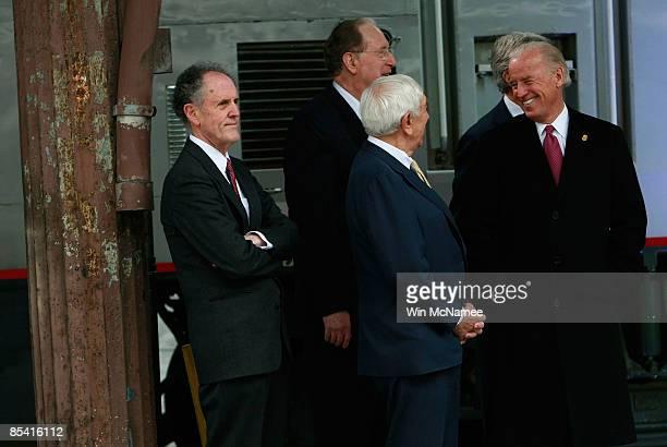 Vice President Joe Biden jokes with with Sen. Frank Lautenberg , Sen. Ted Kaufman and Sen. Jay Rockefeller at Union Station during an event...
