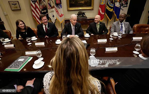 S Vice President Joe Biden leads a meeting on extending access to mental health care at the White House with are Katy Sherlach Georgetown Graduate...