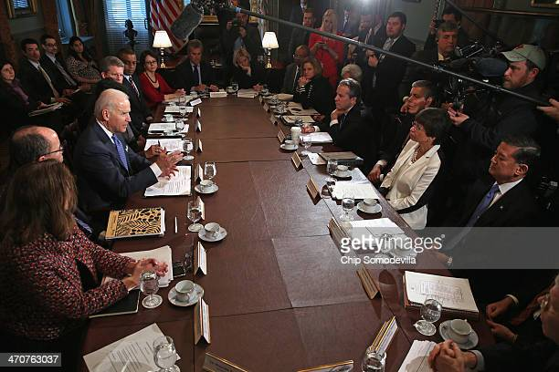 S Vice President Joe Biden leads a meeting with members of the Obama cabinet including Veterans Affiars Secretary Eric Shinseki Senior Advisor...