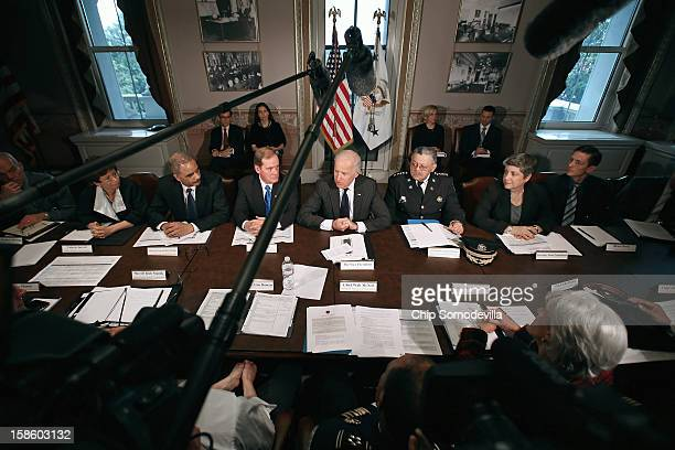 S Vice President Joe Biden leads the first meeting of the working group to explore solutions following the Newtown massacre with National Troopers...