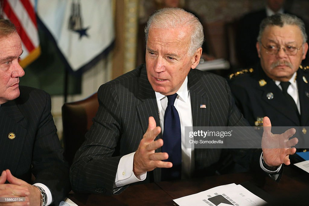 U.S. Vice President Joe Biden (C) leads the first meeting of the working group to explore solutions following the Newtown massacre with National Association of Police Organizations President Thomas Nee (L), Philadelphia Police Commissioner Charles Ramsey and other law enforcement leaders from around the country and administration officials in the Eisenhower Executive Office Building December 20, 2012 in Washington, DC. President Barack Obama put Biden at the head of the working group that was formed in the wake of the second-deadliest school shooting in U.S history.