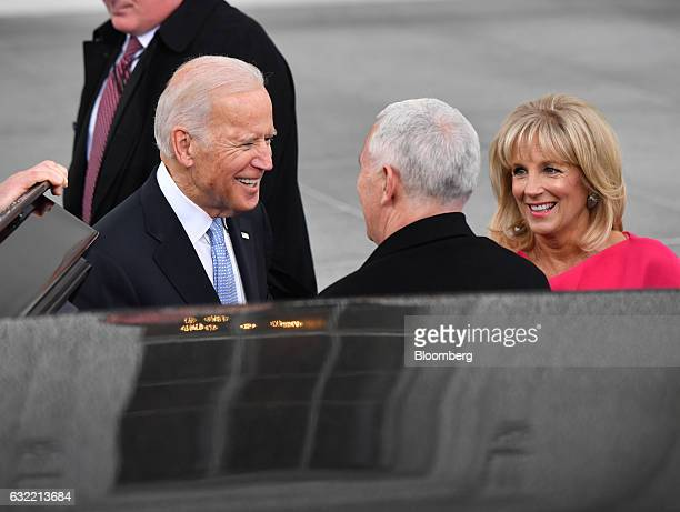 US Vice President Joe Biden left and Second Lady Jill Biden greet US Vice Presidentelect Mike Pence at the White House ahead of the 58th presidential...